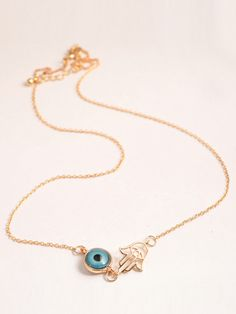 Golden Eye And Palm Drop Chain Necklace