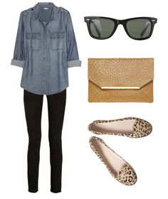 Casual chic: Black skinnies, chambray/denim top, leopard print flats, sunglasses, envelop clutch