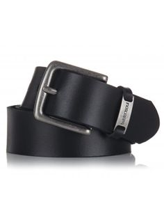 Mens black leather belt with a silver square frame buckle and brand emblem. Black Leather Belt, The New School, Boy Fashion, Stylish, Men, Accessories, Shoes, Fashion For Boys, Zapatos