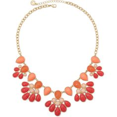 Liz Claiborne Orange and Gold-Tone Drama Necklace ($24) ❤ liked on Polyvore featuring jewelry, necklaces, gold tone jewelry, orange necklace, gold tone necklace, gold colored necklace and chains jewelry