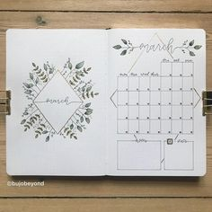 My March cover page and monthly calendar side by side Bullet Journal Bullet Journal Vidéo, Bullet Journal Monthly Spread, Bullet Journal Aesthetic, Bullet Journal Themes, Bullet Journal Calendar Ideas, Bullet Journal Front Page, Bullet Journal Overview, Bullet Journal How To Start A Layout, Calendar Doodles