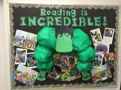 Hook your students into reading with this Incredible Hulk Bulletin Board display of Graphic Novel reads, from Daystrom! Superhero School Theme, School Themes, Classroom Themes, Library Themes, Library Decorations, Library Displays, Library Ideas, Superhero Bulletin Boards, Library Bulletin Boards