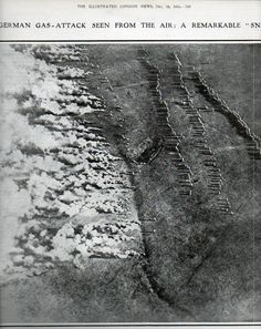 WWI. German gas attack seen from the air, The Illustrated London News, 15 December 1918.