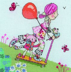 Emily Button is a rag doll who loves the outdoors, and even more when she's flying through it on her scooter.  This cross stitch kit from Anchor is great for any child or adult who has anywhere near the love for creativity that Emily herself holds.  #EmilyButton #CrossStitch #Scooter