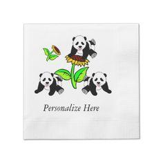 Panda Party Time Sunflower Pandas Disposable Napkin