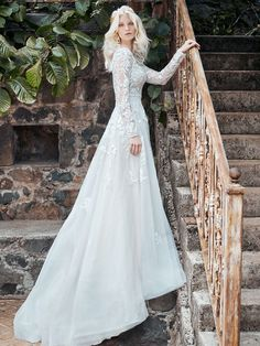 With lace illusion long sleeves and floral appliques this gown is the perfect mix of boho and classic. Size 12 Wedding Dress, Wedding Dress Shopping, Wedding Dress Sleeves, Long Sleeve Wedding, Colored Wedding Dresses, Dream Wedding Dresses, Bridal Dresses, Lace Sleeves, Lace Bodice