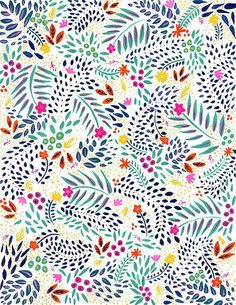 Watercolor Painting Floral Pattern Colorful Gouache