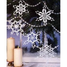 Picot stitches highlight each of these dainty lace ornaments. Each is crocheted using bedspread weight cotton thread (size 10) and a size 7 steel crochet hook. Instructions included for starching with commercial fabric stiffener. <p><strong>Number of Designs:</strong> 5 ornaments