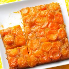 Apricot Upside-Down Cake Recipe -My Aunt Anne, who is a great cook, gave me a taste of this golden upside-down cake and I couldn't believe how delicious it was. Apricots give it an elegant twist from traditional pineapple versions. —Ruth Ann Stelfox, Raymond, Alberta