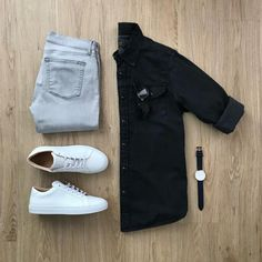 Monochrome vibes ✌🏻 Featured is the Black Western Denim shirt. Please rate this outfit below ⤵️ Jeans: Shoes: The Royale Shades: Watch: . Trend Fashion, Mens Fashion Blog, Fashion Ideas, Men's Fashion, Fashion Jobs, Sporty Fashion, Office Fashion, Fashion Vintage, Business Fashion