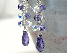 Purple Earrings Wedding Grape Cluster Teardrop door fineheart