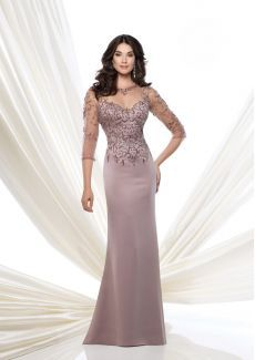 Montage by Mon Cheri 115973 Crepe slim A-line gown with hand-beaded illusion three-quarter length sleeves, beaded illusion jewel neckline over sweetheart bodice with i Formal Dresses With Sleeves, Mob Dresses, Bridal Dresses, Party Dresses, Dresses 2016, Cheap Dresses, Fit And Flare Skirt, Gaines, A Line Gown