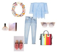 """""""Light blue jeans"""" by georgia-ret on Polyvore featuring MANGO, Sophie Hulme, Kenneth Jay Lane, Calvin Klein and Jimmy Choo"""