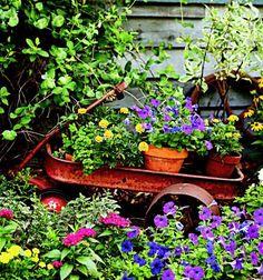Old wagon garden art