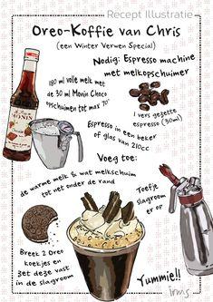 Koffie recept. Dit is een winter verwen koffie met Oreo koekjes, slagroom en opgeklopte melk met Monin. Heerlijk nu thuis te maken het recept van een echte Barista! Desserts Menu, Delicious Desserts, Coffee Drinks, Coffee Cups, Meet Recipe, Recipe Drawing, Cocktail Party Food, Food Journal, Journal Ideas