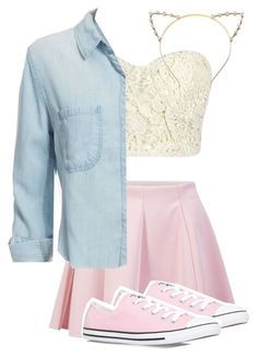 """shopping with your bestie"" by divadivineonline ❤ liked on Polyvore featuring moda, ONLY, Rails i Converse"