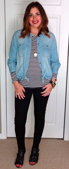 Navy Striped Shirt, Chambray Shirt, Black Leather Accented Leggings, Black Leather Booties, & Gold Locket. Great casual outfit for around campus.