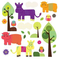 animal friends wall stickers by spin collective | notonthehighstreet.com