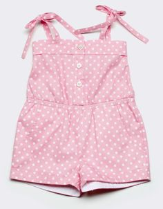 Sun Romper in Sarah Dot Pink/White: One piece romper in pink and white Sarah Dot. Ties at shoulder. BabyCZ exclusive print. 100% cotton. Order at: http://www.babycz.com/sun-romper-sarah-dot-pink-white.html#.Ub5W_fZAT8s