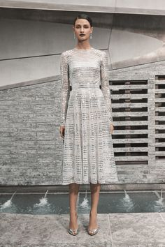 Tea length wedding gown features hand cut silver sequins and long sleeves Naeem Khan Wedding Dresses, Fall Wedding Dresses, Chic Winter Outfits, Fall Chic, Sequin Gown, Tea Length Wedding Dress, Silver Dress, Autumn Street Style, Bridal Collection