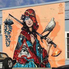 Tristan Eaton and ESAO, 2015. Unknown location. - - - - - - - - - - - - - - - - - - - - - - - - - - - - - - - #streetart #art #mural #urbanart #esao #welovestreetart #streetartfiles