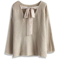 Chicwish Tie a Ribbon Bow Knit Top in Beige ($51) ❤ liked on Polyvore featuring tops, tunics, beige, loose tunic, brown tunic, knit tops, loose fit tops and loose knit top