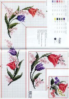 Χειροτεχνήματα: Κεντητά τραπεζομάντηλα με λουλούδια / Flower cross stitch tablecloths