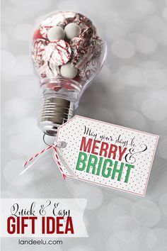 and Bright Gift Idea DIY Quick & Easy Christmas Gift and Ornament Idea - Merry and Bright Printable gift tag included!DIY Quick & Easy Christmas Gift and Ornament Idea - Merry and Bright Printable gift tag included! Neighbor Christmas Gifts, Handmade Christmas Gifts, Neighbor Gifts, Homemade Christmas, Holiday Gifts, Christmas Holidays, Fun Gifts, Xmas, Christmas Ideas