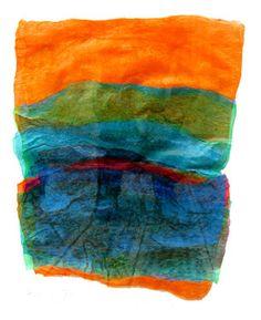 """Saatchi Online Artist Aviva Sawicki; Assemblage / Collage, """"Orange Landscape"""" #art"""