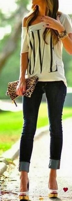 Summer Weekend Casual Looks I LOVE! I'd wear wedges in place of the heels myself. Love the Shirt! Love the Leopard Clutch! White Love Letter Print Short Sleeve Loose Summer T-Shirt