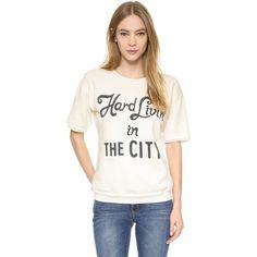 Wildfox Hard Livin' Frenchie Sweatshirt ($94) ❤ liked on Polyvore featuring tops, hoodies, sweatshirts, pearl, crewneck sweatshirt, crew neck sweatshirts, white short sleeve top, short sleeve sweatshirts and short sleeve crew neck sweatshirt