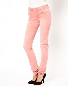 Image 1 ofASOS Elgin Supersoft Skinny Jeans in Washed Coral