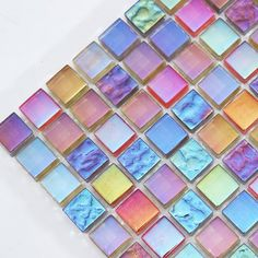 Square Iridescent Rainbow-like Glass Mosaic Tile for Kitchen backsplash and Bathroom wall Mosaic Bathroom, Mosaic Diy, Bathroom Wall, Glass Tile Backsplash, Glass Mosaic Tiles, Mosaic Mirrors, Mosaic Wall, Rainbow Kitchen, Iridescent Tile
