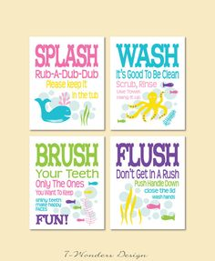 Childrens Kids Bathroom Art Prints Set of 4 8 x by 7WondersDesign, $28.50
