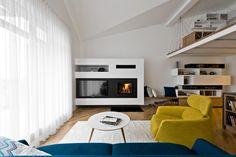 Apartment Living Room with TV unit and Fireplace