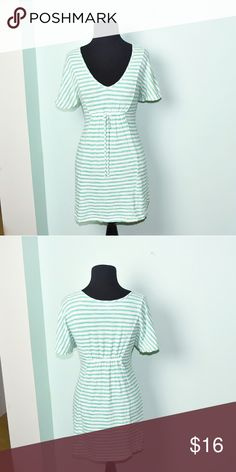 Super Cute Seafoam Green and White Striped Dress In excellent condition! Very comfortable, stretchy, and lightweight! Buy 3 items and get 1 free plus 15% off your purchase total! Dresses Mini