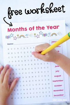 Free months of the year worksheet. A printable word search activity game or lesson for kids.