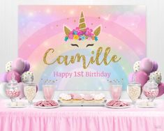 X 2 UNICORN NIGHT BIRTHDAY BANNER PARTY WALL DECORATIONS NAME BANNER 5TH ANY AGE