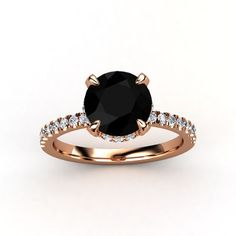 Round Black Onyx 14K Rose Gold Ring with Diamond - lay_down