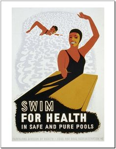 This vintage Swim For Health WPA Poster