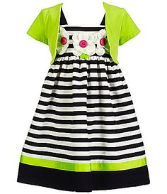 Bonnie Jean Little Girls 2T6X Striped FlowerAppliqu Dress and Cardigan Set #Dillards
