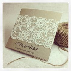 40 x Rustic Wedding Invitation - Rustic Vintage Lace Square Invitation on Etsy, $314.20