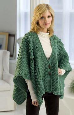 Aran Toggle Wrap By Nazanin S. Fard - Free Crochet Pattern - (redheart)