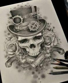 art by goran furjan tat ideas tattoo, tatting and draw Tatoo Steampunk, Steampunk Tattoo Design, Skull Tattoo Design, Tattoo Designs, Tattoo Ideas, Chicano Tattoos, Skull Tattoos, Body Art Tattoos, Sleeve Tattoos