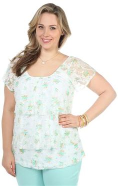 plus size ruffle tier top with mint floral print