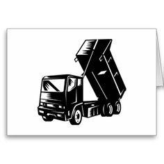 truck dump dumper tipper lorry greeting card