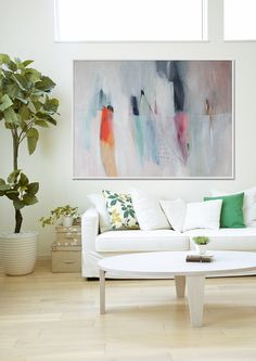 large abstract painting white blue green orange by LolaDonoghue, $450.00