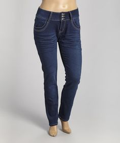 This Blue Medium Wash Three-Button Skinny Jeans - Women & Plus by Jeans Colony is perfect! #zulilyfinds