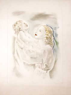 Mariette Lydis, (1890-1970) The Laughing Child 1936 Drypoint, Soft-ground etching and Watercolour