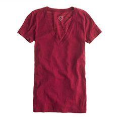 J.crew vintage cotton v-neck tee in burnished ruby